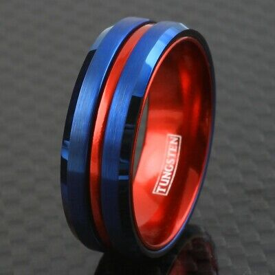 Blue Tungsten Men S Thin Red Line Wedding Band Ring Superhero Colors