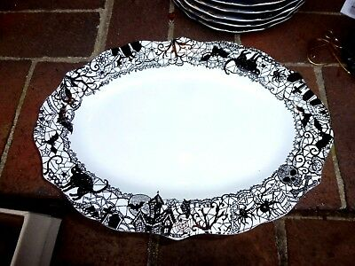 222 Fifth Wiccan Lace Skull Halloween Dinner Plates Set/4 Black ...