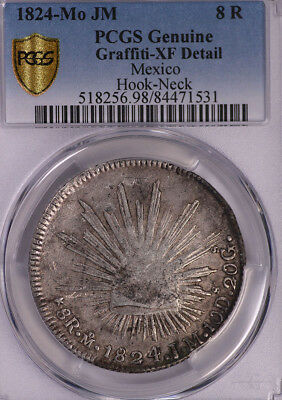Pcgs-Xfd Mexico 1824 8R Hook-Neck Silver