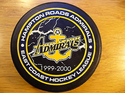 ECHL Hampton Roads Admirals '99-00 Cracked Ice Logo Hockey Puck Collect Pucks