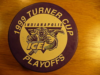 IHL Indianapolis Ice '99 Turner Cup Playoffs Purple Hockey Puck Collect Pucks