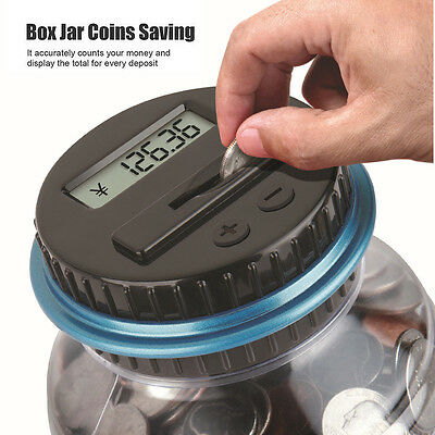 Clear Digital Piggy Bank Coin Savings Counter LCD Counting Money Jar Change Gift