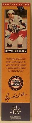 WINNIPEG JETS Readers Club BOOKMARK Hockey BOOKS Education NHL Bryan Erickson