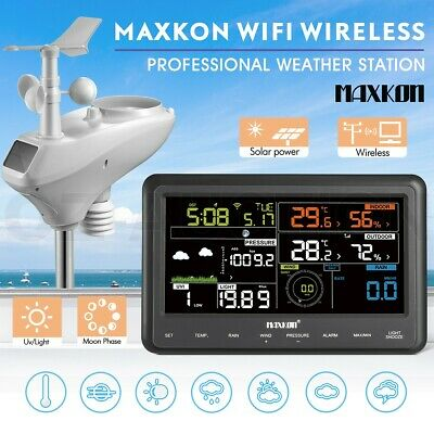 Maxkon WIFI Wireless Weather Forecast Station Outdoor Solar Charging Panel w/APP