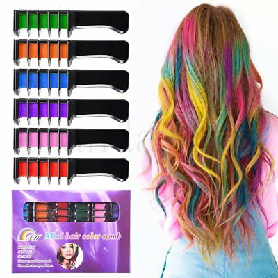 6pcs Temporary Hair Chalk Hair Color Comb Dye Salon Kits Party Fans Cosplay Set