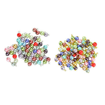 50pcs Colourful Glass Pearl Bead Pendant Jewelry Craft for Necklace Bracelet