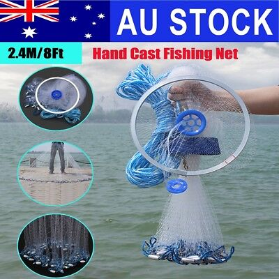 AU 8FT Hand Throw Nylon Fishing Gill Mesh Cast Spin Bait Net Network Sinker
