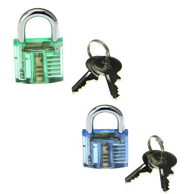 2PCS Transparent green + blue Pick Skill Training Practice Padlock Lock