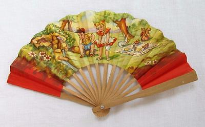 VINTAGE 1940's CHILDREN'S PRINTED WOOD HAND FAN - PICNIC by the STREAM