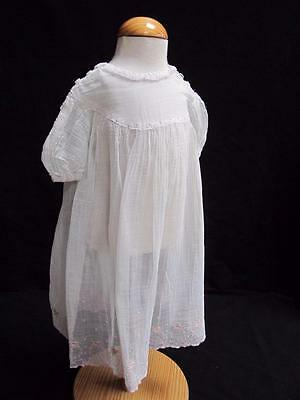 VINTAGE 1930's WHITE MUSLIN & PINK FLORAL EMBROIDERED YOUNG GIRLS DRESS