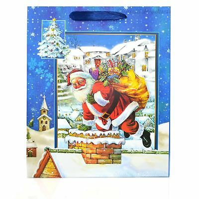 1 x Medium Blue Luxury Christmas Gift Bags -3D Decorative Bags Party Gifts