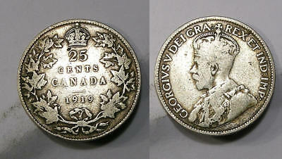 1919 Sterling Silver Canada Quarter Nice Detail Very Tough Inv#306-34