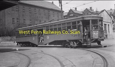 West Penn Railways Company Original B&w Trolley Negative Of Car 726 In 1943