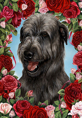 Large Indoor/Outdoor Roses Flag - Black Irish Wolfhound 19164