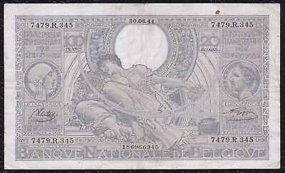 100 Francs or 20 Belgas from Belgium 30.8.41 G5