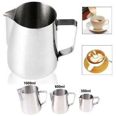 Stainless Steel Milk Frothing Jug Coffee Frother Pitcher Mug Small-Big Silver