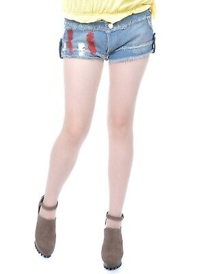 Women Denim Blue Shorts Red White Paint Stripe Many Frayed Summer Hot Pants