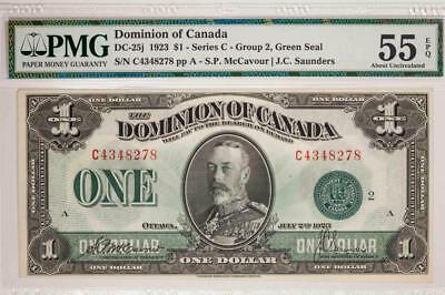 1923 Dominion of Canada $1 PMG AU55EPQ Series C Group 2 Green Seal Item#T7223