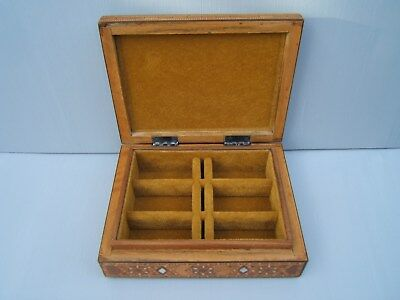 Lovely Early Middle Eastern Damascus  Antique Jewellery Box - Fab Interior