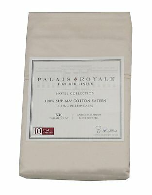 Palais Royale 100%-Supima Cotton Sateen 2-King 630 CT Pillowcases, Dot/Ivory