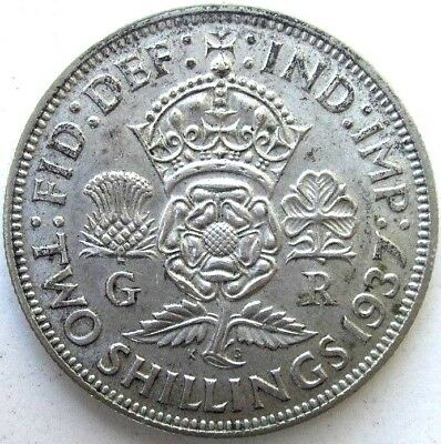 Great Britain Uk Coins, Two Shillings 1937, George Vi, Silver 0.500