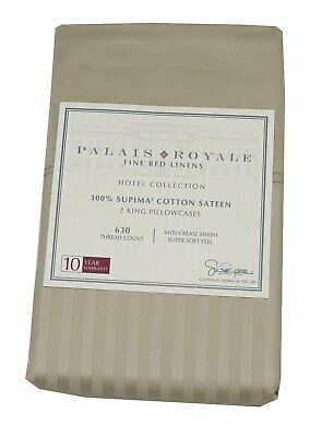Palais Royale 100%-Supima Cotton Sateen 2-King 630 CT Pillowcases, Stripe/Canvas