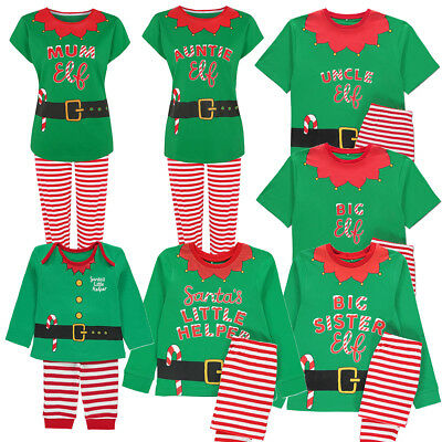Family Elf Matching Christmas Pyjama PJ Set Sister Brother Dad Mum Uncle Auntie