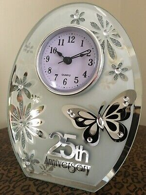 25 Years Marriage 25th Wedding Anniversary Mantle Clock Silver Anniversary Gift