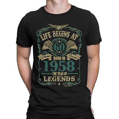 Life Begins At 60 Mens T-Shirt BORN In 1958 Year of Legends 60th Birthday Gift