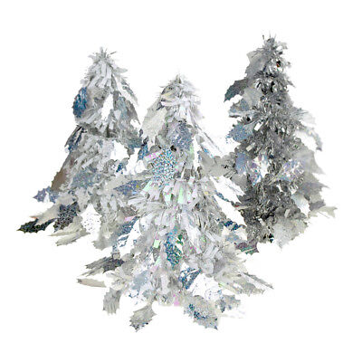 iridescent holly leaf christmas tinsel tabletop tree silver 10 inch 3