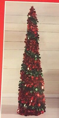 Collapsible Christmas Tree.5 Ft Red Green Tinsel Christmas Tree Pop Up Thin Collapsible Sequin Decorative