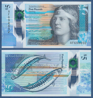 SCHOTTLAND / The Royal Bank of SCOTLAND 5 Pounds 2016 Polymer UNC P. NEW