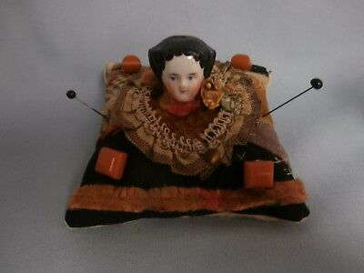 Vintage Antique China Head Sewing Pin Cushion Whimsey