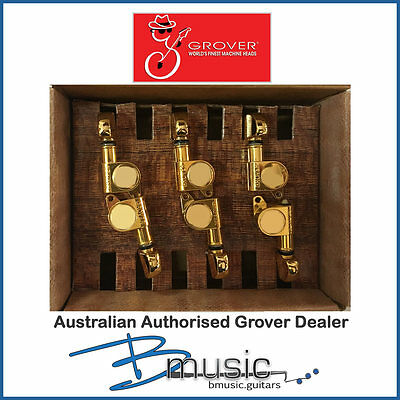 New Old Stock Grover 205G6 6-in-line Machine Heads - Gold - Australian RRP $159