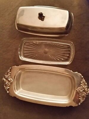 1940 Vintage Baro-que Wallace Sterling Silver Plated Butter Dish with Insert Tra