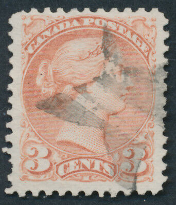 Canada #37a 3c Small Queen, Dull Rose, Star Fancel Cancel
