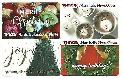 Lot of 4 Homegoods TJ Maxx Marshalls Christmas Gift Cards No $ Value Collectible