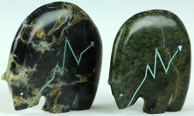 Pair Derrick Kaamasee Native American Indian Carved Stone Bear Fetishes NR TLL