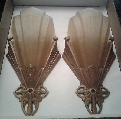 ART DECO 1930's SLIP SHADE WALL SCONCE PAIR NICE CONDITION B-180 MARKEL ?