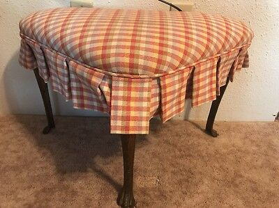 Ottoman Padded Corner Foot Stool Metal Claw Feet Triangle In Shape Vintage