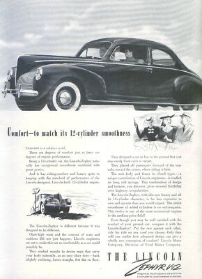Comfort to match its smoothness Lincoln Zephyr ad 1940