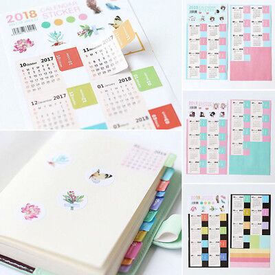 2X 2018 Calendar Stickers Notebook Monthly Category Planner Note Index Label DIY
