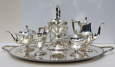 Antique Sterling Silver Gorham Plymouth Tea Coffee Set w Water Kettle Tray 6 pc