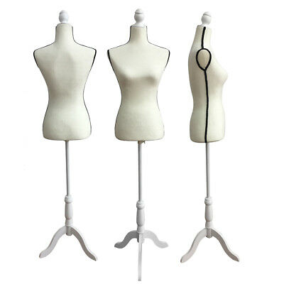 Female Mannequin Torso Dress Form Clothing Display W/Black Tripod Stand