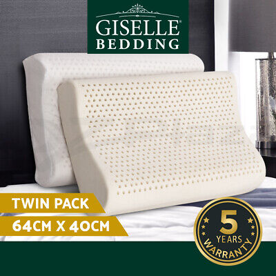 Giselle Bedding 2-Zone 100% Natural Latex Pillows Bed Sleeping Contour Cover