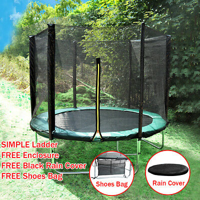 Trampoline Set With Safety Net Enclosure Rain Cover 6FT 8FT 10FT 12FT 14FT