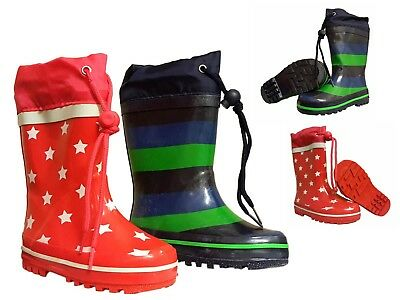 Kids Childrens Girls Boys Wellies Wellington Rain Snow Boots Toggle Tie Top