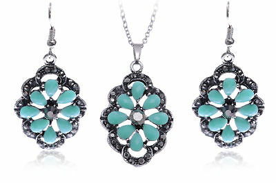 Silver Flower Turquoise Gray Rhines New Necklace Earring Set