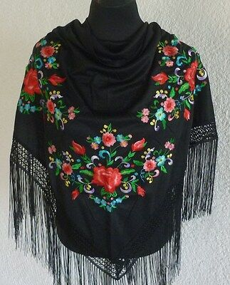 "Spanish flamenco black with red and pink  floral embroidered shawls 66"" x 39"""