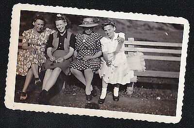 Old Antique Vintage Photograph Four Women on Bench Wearing Cool Outfits 1944